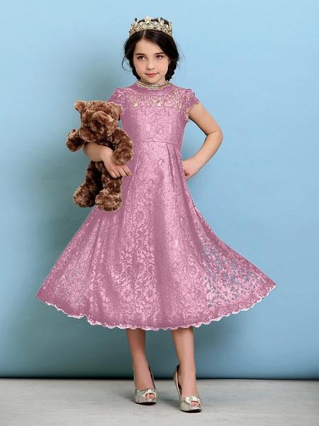 Princess / A-Line Jewel Neck Tea Length Lace Junior Bridesmaid Dress With Pleats / Natural_12