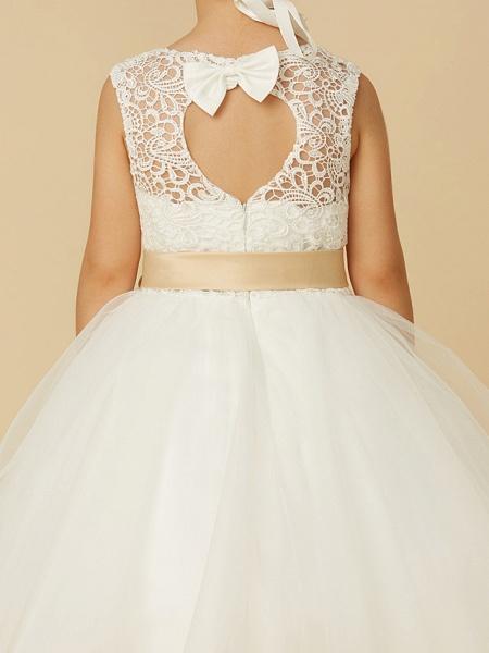 Princess Tea Length Wedding / First Communion Flower Girl Dresses - Lace / Tulle Sleeveless Jewel Neck With Sash / Ribbon / Bow(S)_9