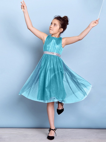 A-Line Jewel Neck Knee Length Tulle Junior Bridesmaid Dress With Sash / Ribbon / Sequin / Draping / Natural_42