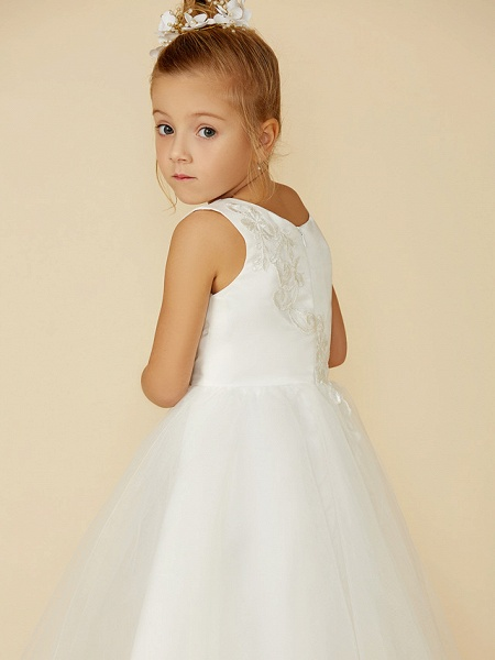 A-Line Tea Length Wedding / First Communion Flower Girl Dresses - Lace / Tulle Sleeveless Jewel Neck With Lace_6