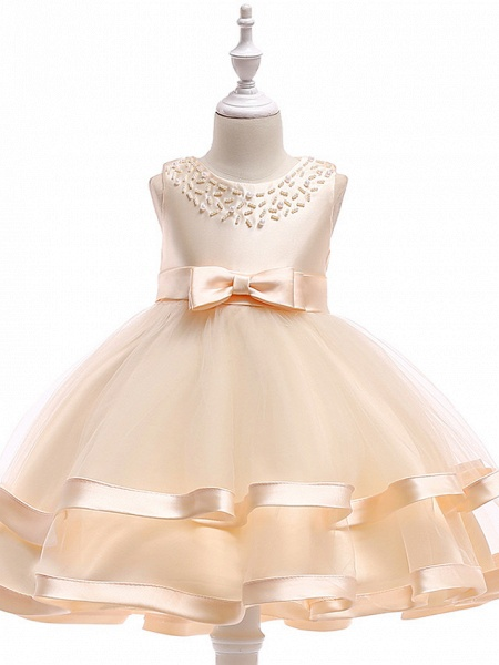 A-Line Knee Length Wedding / Birthday / Pageant Flower Girl Dresses - Cotton Blend Sleeveless Jewel Neck With Sash / Ribbon / Pearls / Trim_2