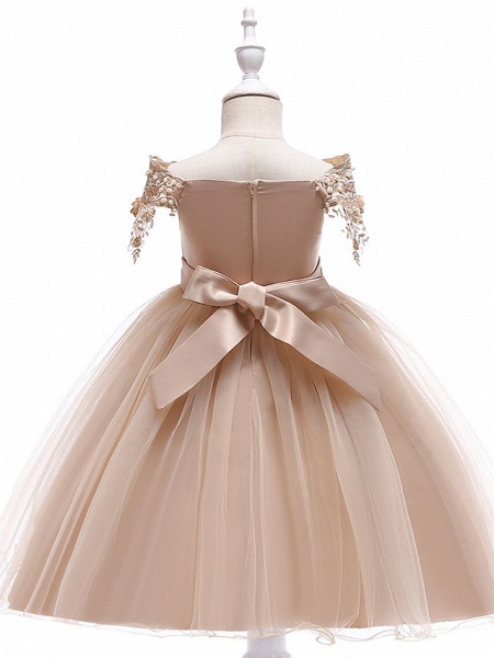 Princess Above Knee Wedding / Party / Pageant Flower Girl Dresses - Satin / Tulle Short Sleeve Off Shoulder With Lace / Beading / Appliques_3