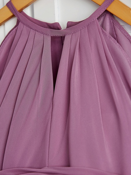 A-Line Crew Neck Floor Length Chiffon Junior Bridesmaid Dress With Ruching / Wedding Party_7