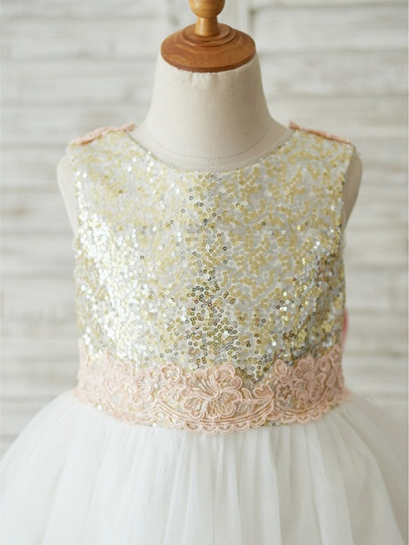 A-Line Knee Length Wedding / Birthday / Pageant Flower Girl Dresses - Tulle / Sequined Sleeveless Jewel Neck With Bows / Appliques_3