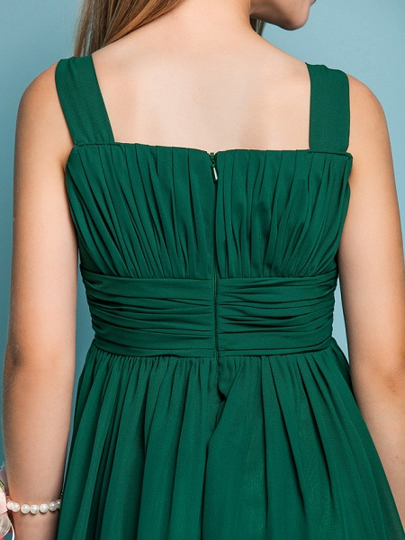 Sheath / Column Straps Knee Length Chiffon Junior Bridesmaid Dress With Ruched / Draping / Spring / Summer / Fall / Apple / Hourglass_8