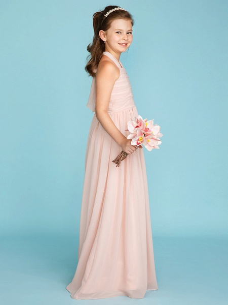 Princess / A-Line Halter Neck Floor Length Chiffon Junior Bridesmaid Dress With Pleats / Ruched_3