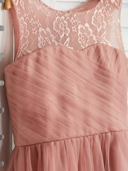 A-Line Crew Neck Maxi Lace / Tulle Junior Bridesmaid Dress With Lace / Pleats_5