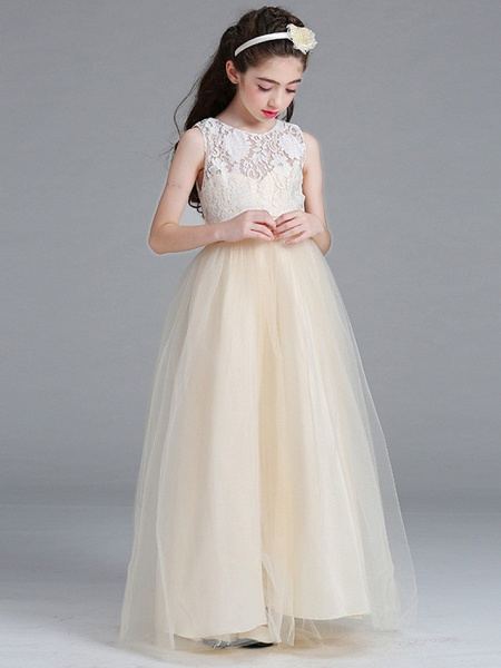 Princess / A-Line Round Floor Length Lace / Tulle Junior Bridesmaid Dress With Bow(S)_1