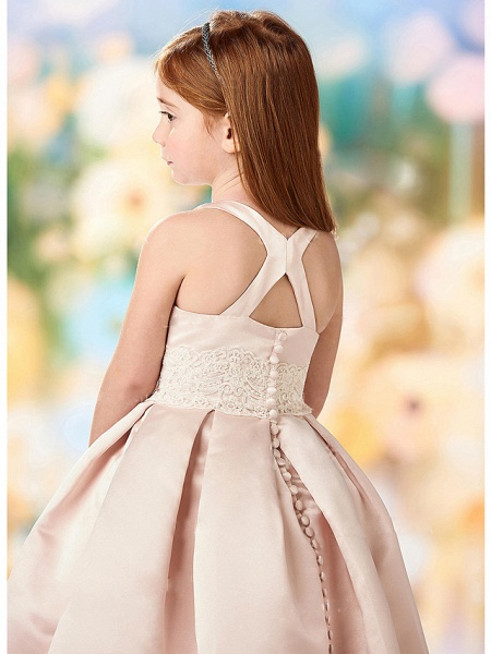 A-Line Floor Length Wedding / Party Flower Girl Dresses - Lace / Satin Cap Sleeve Jewel Neck With Solid_2