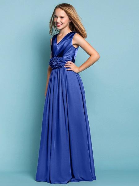 Sheath / Column V Neck Floor Length Chiffon Junior Bridesmaid Dress With Flower / Spring / Summer / Fall / Apple / Hourglass_43