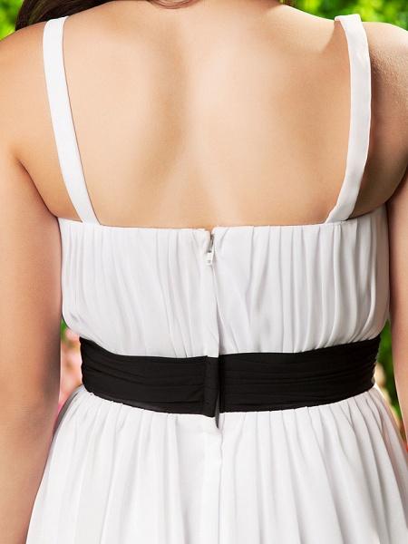 Sheath / Column Spaghetti Strap Sweep / Brush Train Chiffon Junior Bridesmaid Dress With Sash / Ribbon / Bow(S) / Draping / Empire / Spring / Summer / Fall / Apple_9