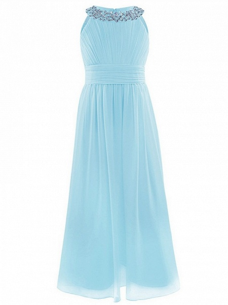 A-Line Round Floor Length Chiffon / Sequined Junior Bridesmaid Dress With Beading / Ruching_5