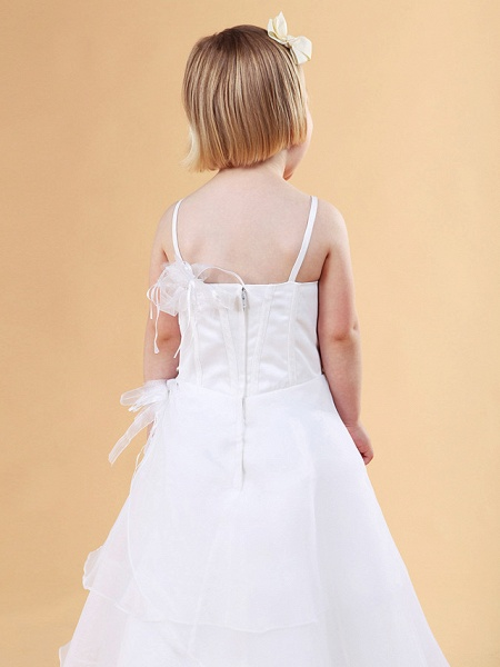 Princess / A-Line Floor Length Wedding Party Organza / Satin Sleeveless Spaghetti Strap With Appliques / Flower / Spring / Summer / Fall / Winter_9