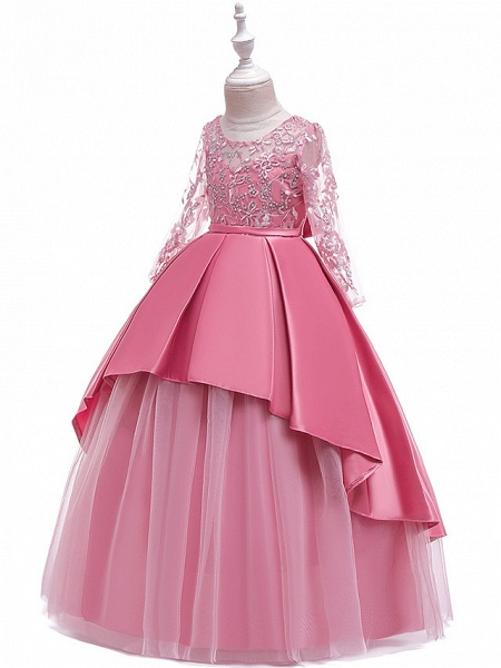 Princess Floor Length Wedding / Party / Pageant Flower Girl Dresses - Lace / Satin / Tulle Long Sleeve Jewel Neck With Lace / Belt / Crystals_10