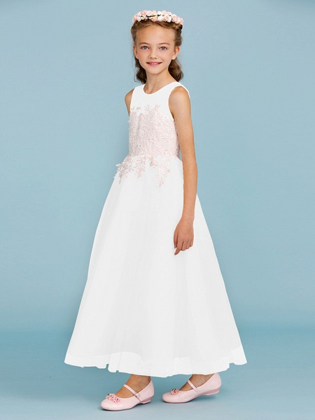 Princess / A-Line Jewel Neck Ankle Length Lace / Tulle Junior Bridesmaid Dress With Sash / Ribbon / Appliques / Wedding Party / Open Back_49