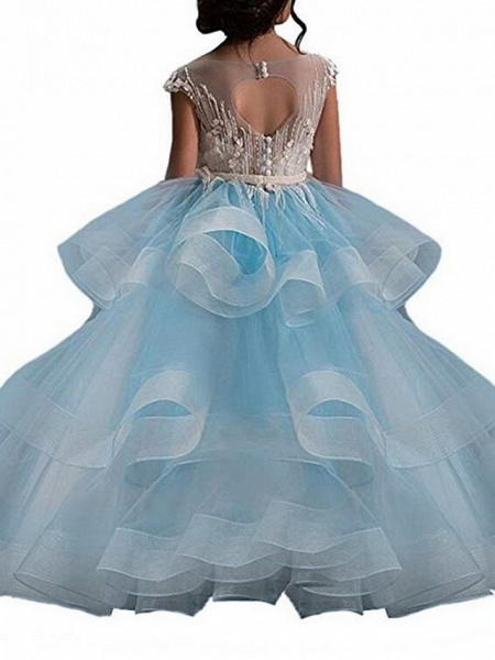 Princess Maxi Pageant Flower Girl Dresses - Polyester Sleeveless Jewel Neck With Bow(S) / Embroidery_6