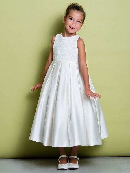 A-Line Ankle Length Wedding / First Communion Flower Girl Dresses - Lace / Satin Sleeveless Jewel Neck With Lace_2