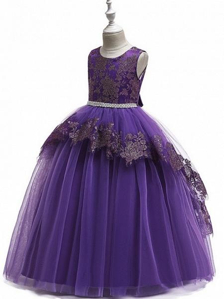 Princess Round Floor Length Cotton Junior Bridesmaid Dress With Bow(S) / Tier / Appliques_7