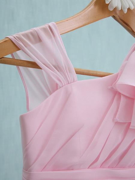Sheath / Column Straps Knee Length Chiffon Junior Bridesmaid Dress With Ruffles / Side Draping / Natural_5
