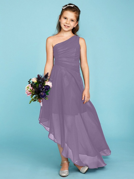 A-Line One Shoulder Asymmetrical Chiffon Junior Bridesmaid Dress With Side Draping / Wedding Party_29