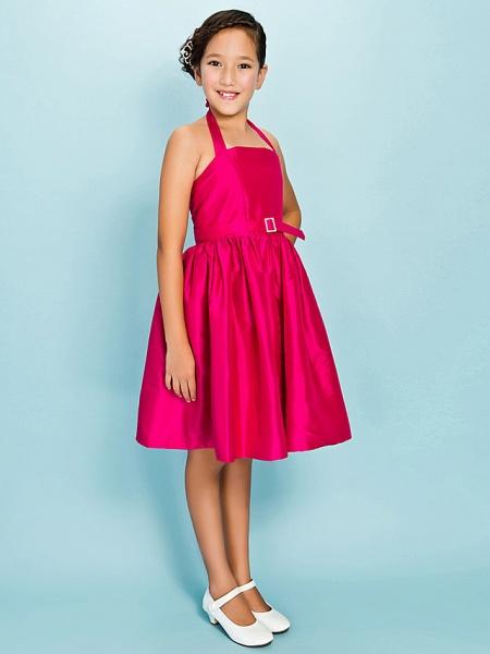 Princess / Ball Gown Halter Neck Knee Length Taffeta Junior Bridesmaid Dress With Sash / Ribbon / Draping / Crystal Brooch / Spring / Summer / Fall / Apple / Hourglass_2