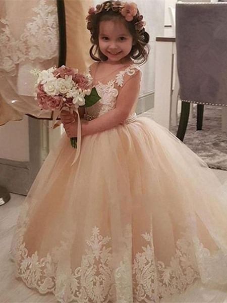 Princess / Ball Gown Sweep / Brush Train Wedding / Party Flower Girl Dresses - Lace / Tulle Long Sleeve V Neck With Pleats / Appliques_1