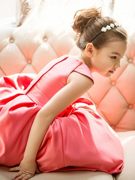 Princess / A-Line Tea Length Pageant Flower Girl Dresses - Satin Short Sleeve Jewel Neck With Bow(S)_8