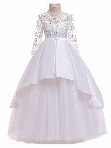 Ball Gown Floor Length Pageant Flower Girl Dresses - Polyester Long Sleeve Jewel Neck With Ruffles / Tier / Appliques_5