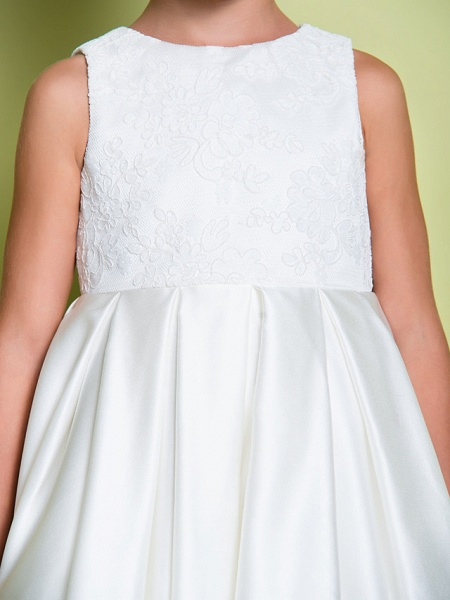 A-Line Ankle Length Wedding / First Communion Flower Girl Dresses - Lace / Satin Sleeveless Jewel Neck With Lace_8