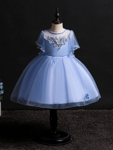 Princess Midi Wedding / Birthday Satin / Tulle Sleeveless Jewel Neck With Bow(S) / Pearls / Beading_4