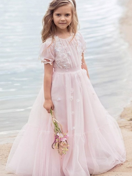 Princess / A-Line Knee Length Wedding / Party Flower Girl Dresses - Tulle Half Sleeve Jewel Neck With Appliques / Solid_1