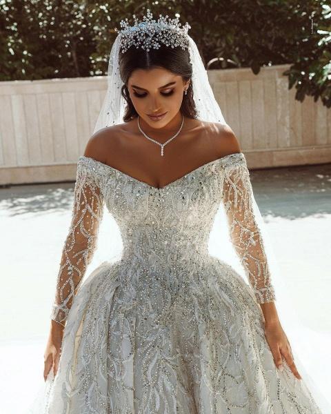 Luxurious Sequins Long Sleeve Satin Ball Gown Wedding Dress_8