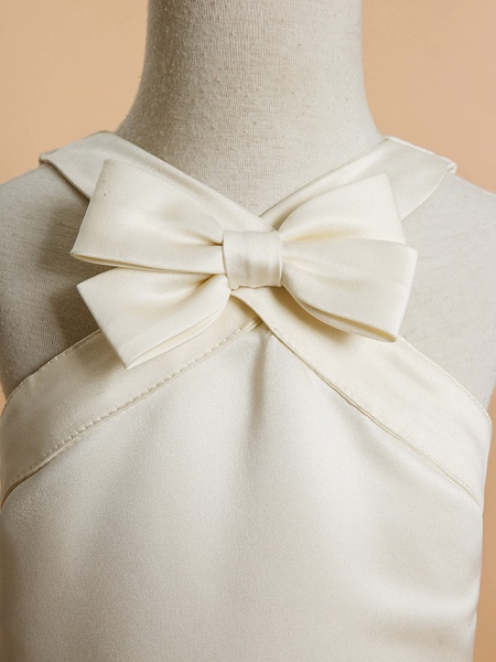 A-Line Ankle Length Wedding / First Communion Flower Girl Dresses - Satin Sleeveless V Neck With Bow(S)_4