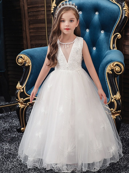 A-Line Medium Length Wedding / Party / First Communion Flower Girl Dresses - Tulle / Matte Satin / Poly&Cotton Blend Sleeveless Jewel Neck With Lace / Beading / Solid_1