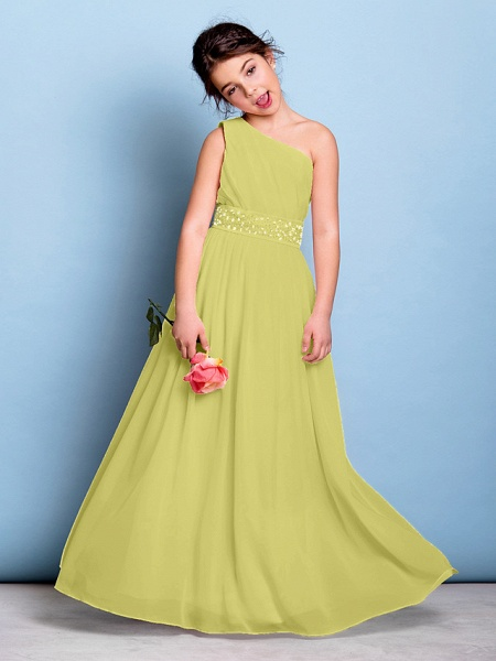 A-Line One Shoulder Floor Length Chiffon Junior Bridesmaid Dress With Sash / Ribbon / Beading / Side Draping / Natural_18