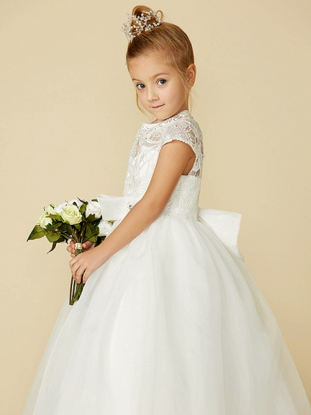 Ball Gown Floor Length Wedding / First Communion Flower Girl Dresses - Lace / Tulle Short Sleeve High Neck With Lace / Sash / Ribbon / Bow(S)_11