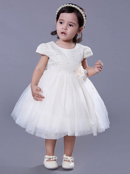 Ball Gown Royal Length Train / Medium Length Wedding / Event / Party Flower Girl Dresses - Lace Short Sleeve Jewel Neck With Belt / Beading / Flower_5