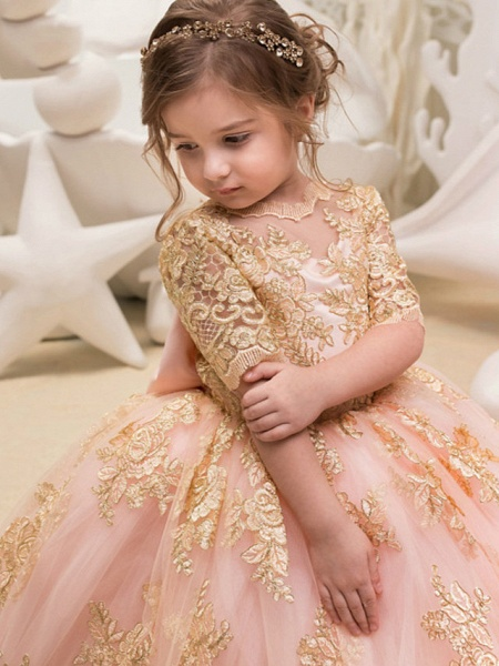 Princess / Ball Gown Floor Length Wedding / Party Flower Girl Dresses - Tulle Half Sleeve Jewel Neck With Bow(S) / Appliques_2