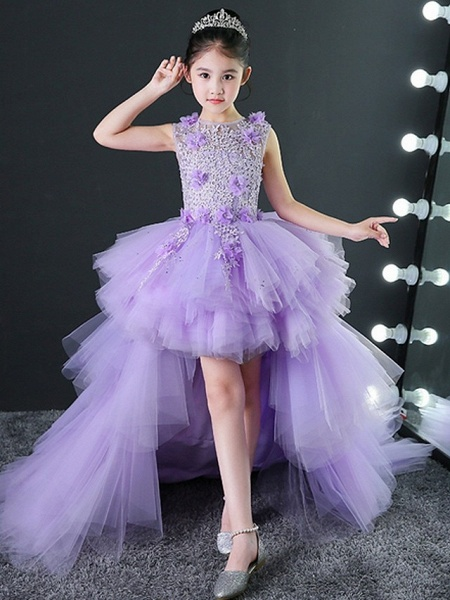 A-Line Asymmetrical Wedding / Pageant Flower Girl Dresses - Tulle Sleeveless Jewel Neck With Tier / Appliques_5