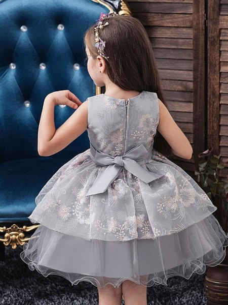 Princess / Ball Gown Knee Length Wedding / Party Flower Girl Dresses - Tulle Sleeveless Jewel Neck With Bow(S) / Tier_3