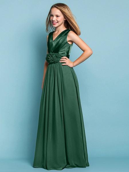 Sheath / Column V Neck Floor Length Chiffon Junior Bridesmaid Dress With Flower / Spring / Summer / Fall / Apple / Hourglass_32