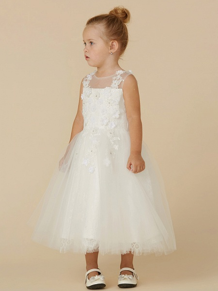 Princess Tea Length Wedding / First Communion Flower Girl Dresses - Lace / Tulle Sleeveless Illusion Neck With Beading / Appliques_3
