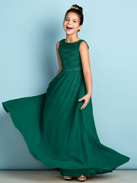A-Line Scoop Neck Floor Length Chiffon / Lace Junior Bridesmaid Dress With Lace / Natural / Mini Me_27