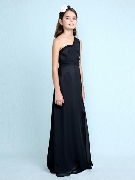 Sheath / Column One Shoulder Floor Length Chiffon Junior Bridesmaid Dress With Side Draping / Natural_4