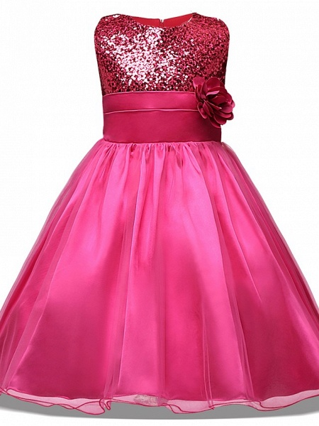 Princess Midi Wedding / Party / Pageant Flower Girl Dresses - Tulle Sleeveless Jewel Neck With Belt / Bow(S) / Appliques_7