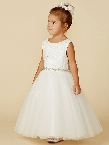 Princess Floor Length Wedding / First Communion Flower Girl Dresses - Lace / Tulle Sleeveless Jewel Neck With Lace / Sash / Ribbon / Bow(S)_3