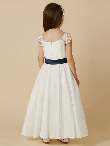 A-Line Ankle Length Wedding / First Communion Flower Girl Dresses - Taffeta Short Sleeve Scoop Neck With Sash / Ribbon / Bow(S)_2