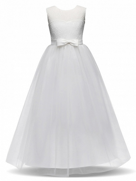 Princess Long Length Party / Birthday / Pageant Flower Girl Dresses - Lace / Tulle Sleeveless Jewel Neck With Lace / Bow(S)_6