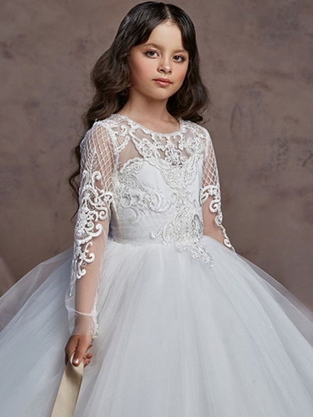 Ball Gown Court Train Wedding / Party Flower Girl Dresses - Poly Long Sleeve Jewel Neck With Lace / Tier / Appliques_2