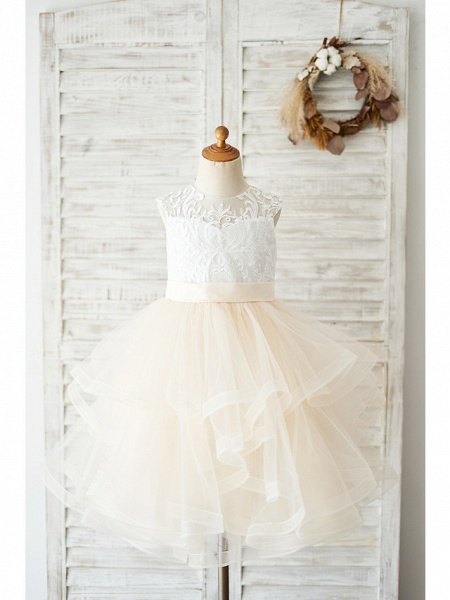 Ball Gown Knee Length Wedding / Birthday Flower Girl Dresses - Lace / Tulle Sleeveless Jewel Neck With Belt / Tiered_1